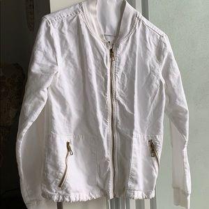 White zipper linen jacket XS